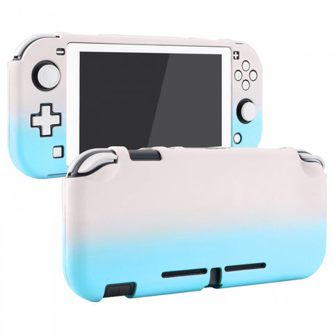 PlayVital Customized Protective Grip Case for Nintendo Switch Lite, Gradient Pink Blue Hard Cover for Nintendo Switch Lite - 1 x White Border Tempered Glass Screen Protector Included - LTP327