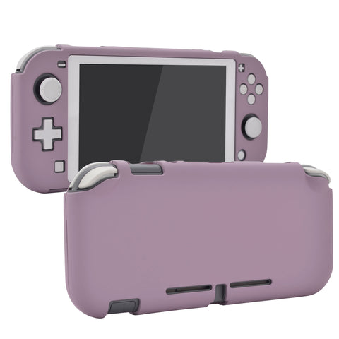 Soft Touch Dark Grayish Violet Customized Protective Grip Case for Nintendo Switch Lite, Hard Cover Protector for Nintendo Switch Lite - 1 x White Border Tempered Glass Screen Protector Included - LTP328