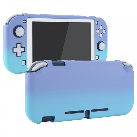 PlayVital Customized Protective Grip Case for Nintendo Switch Lite, Gradient Violet Blue Hard Cover for Nintendo Switch Lite - 1 x White Border Tempered Glass Screen Protector Included - LTP329