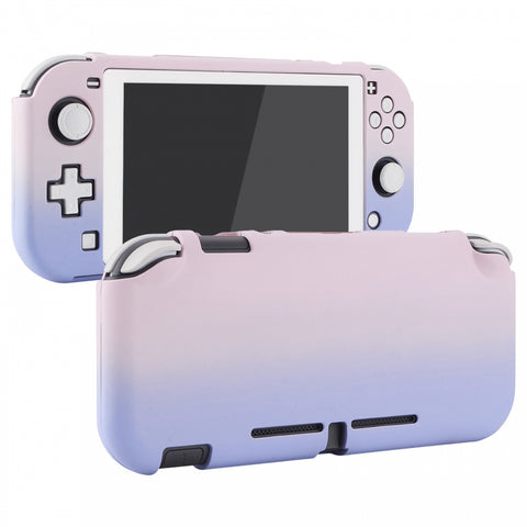 PlayVital Customized Protective Grip Case for Nintendo Switch Lite, Gradient Pink Violet Hard Cover for Nintendo Switch Lite - 1 x White Border Tempered Glass Screen Protector Included - LTP330
