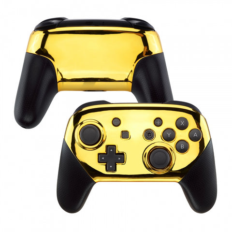 Chrome Gold Faceplate and Backplate for Nintendo Switch Pro Controller, Glossy DIY Replacement Shell Housing Case for Nintendo Switch Pro - Controller NOT Included - MRD401
