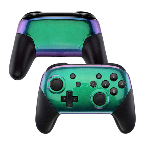 Chameleon Glossy Faceplate and Backplate for Nintendo Switch Pro Controller, Green Purple DIY Replacement Shell Housing Case for Nintendo Switch Pro - Controller NOT Included - MRP311