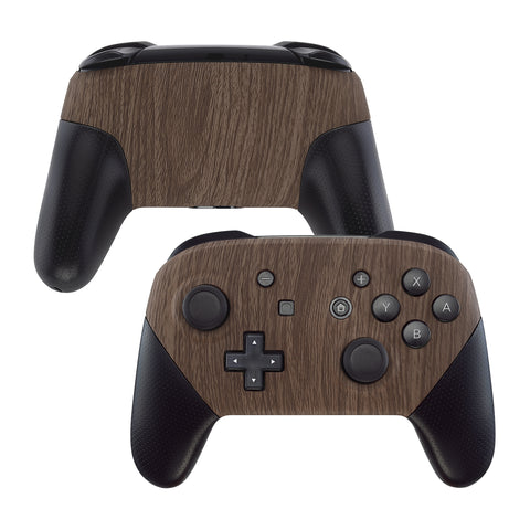 Wood Grain Patterned Soft Touch Faceplate and Backplate Replacement Shell Housing Case for NS Switch Pro Controller- Controller NOT Included - MRS201