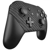 Black Silver Carbon Fiber Patterned Soft Touch Faceplate and Backplate Replacement Shell Housing Case for NS Switch Pro Controller - MRS202
