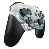 The Great Wave Patterned Soft Touch Faceplate and Backplate Replacement Shell Housing Case for NS Switch Pro Controller- Controller NOT Included - MRT105