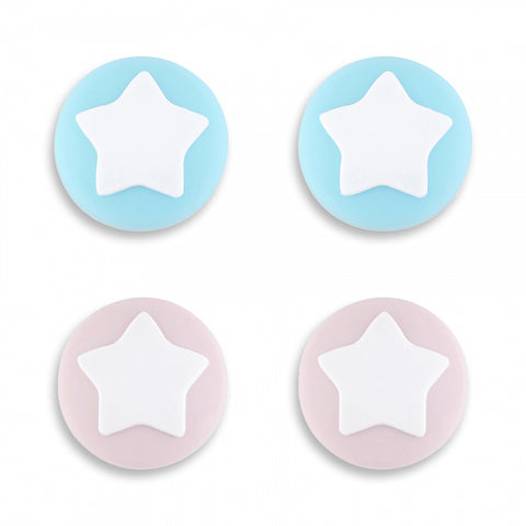 PlayVital Star Design Cute Switch Thumb Grip Caps, Sakura Pink & Heaven Blue Joystick Caps for Nintendo Switch Lite, Silicone Analog Cover Thumb Stick Grips for Joy-Con Controller - NJM1001