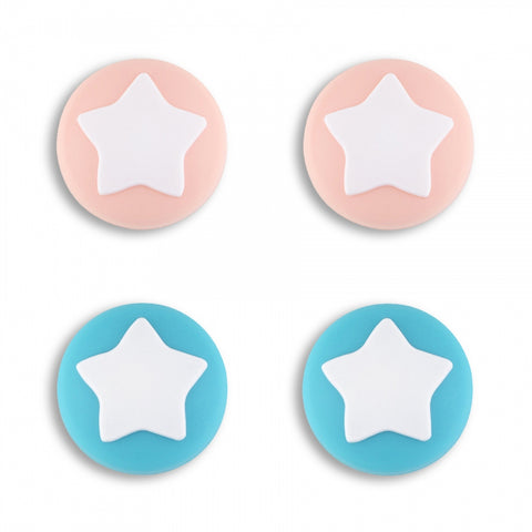 PlayVital Star Design Cute Switch Thumb Grip Caps, Mandys Pink & Bondi Blue Joystick Caps for Nintendo Switch Lite, Silicone Analog Cover Thumb Stick Grips for Joy-Con Controller - NJM1006