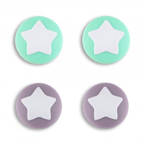 PlayVital Star Design Cute Switch Thumb Grip Caps, Dark Grayish Violet & Mint Green Joystick Caps for Nintendo Switch Lite, Silicone Analog Cover Thumb Stick Grips for Joy-Con Controller - NJM1007