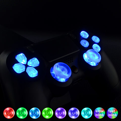 Multi-colors Luminated D-pad Thumbsticks Face Buttons (DTF) LED Kit for PS4 Controller 7 Colors 9 Modes Touch Control - NPZPS40019