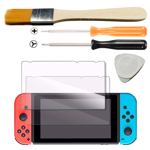 """Y"" ""+"" Cross Triwing Screw Driver Brush Set + 2pcs Screen Protector For Nintendo Switch - NSAR0017GC+NSPJ0015GC"