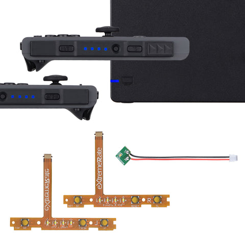 Blue Firefly LED Tuning Kit for Nintendo Switch Joycons Dock NS Joycon SL SR Buttons Ribbon Flex Cable Indicate Power LED-Joycons Dock NOT Included - NSLED005