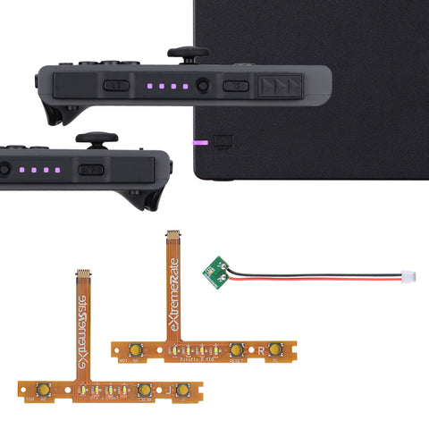 Violet Firefly LED Tuning Kit for Nintendo Switch Joycons Dock NS Joycon SL SR Buttons Ribbon Flex Cable Indicate Power LED-Joycons Dock NOT Included - NSLED009