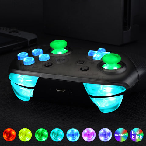 Multi-Colors Luminated Thumbsticks D-pad ABXY ZR ZL L R Buttons DTFS LED Kit for Nintendo Switch Pro Controller - 9 Colors Modes 6 Areas DIY Option Button Control - NSLED001
