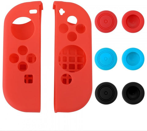 Red Left Right Silicone Case + 3 Pair Thumb Stick Caps for Nintendo Switch - NSPJ0019GC