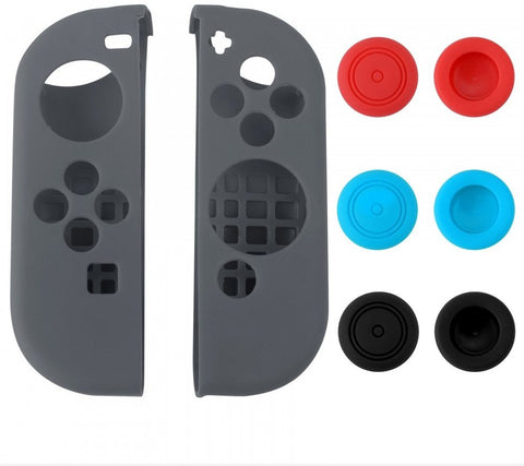 Grey Left Right Silicone Case + 3 Pair Thumb Stick Caps for Nintendo Switch - NSPJ0020GC