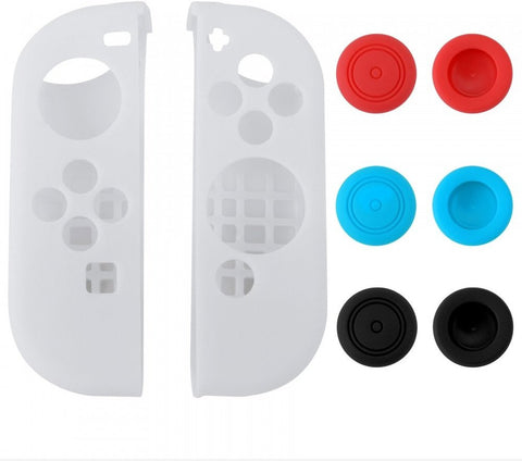 White Left Right Silicone Case + 3 Pair Thumb Stick Caps for Nintendo Switch - NSPJ0022GC