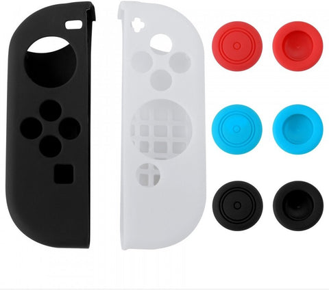 Left Black Right White Silicone Case + 3 Pair Thumb Stick Caps for Nintendo Switch - NSPJ0027GC
