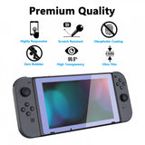 2 Pack Light Violet Border Transparent HD Clear Saver Protector Film, Tempered Glass Screen Protector for Nintendo Switch [Anti-Scratch, Anti-Fingerprint, Shatterproof, Bubble-Free] - NSPJ0705