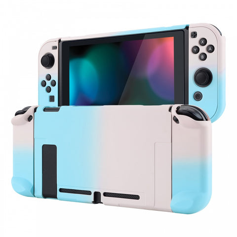PlayVital Back Cover for Nintendo Switch Console, NS Joycon Handheld Controller Separable Protector Hard Shell, Soft Touch Custom Protective Case for Nintendo Switch - Gradient Pink Blue - NTP327