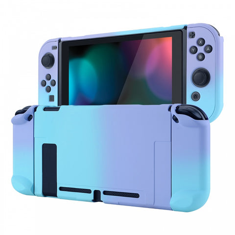 PlayVital Back Cover for Nintendo Switch Console, NS Joycon Handheld Controller Separable Protector Hard Shell, Soft Touch Custom Protective Case for Nintendo Switch - Gradient Violet Blue - NTP329