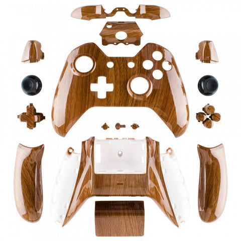 Wooden Grain Full Shell with Buttons for Xbox One Controller (3 5mm  Version) - NXOS005