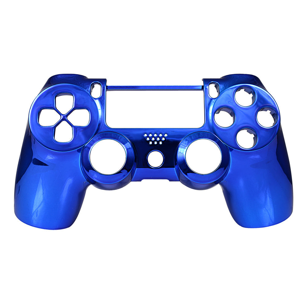 Chrome Blue Face Plate Front Shell Custom Kits for PS4 Controller - P4DF04