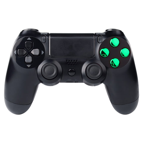 Chrome Green Action Buttons Repair for Dualshock 4 PS4 Controller-P4J0222