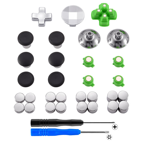 Magnetic Metal Bullet Buttons Dpads Aluminium Thumbstick Joystick Adustable Height Replacement Parts for  PS4 Controller all Models (31 in 1) - P4J1004