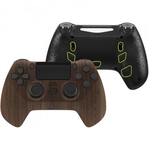 Wood Grain DECADE Tournament Controller (DTC) Upgrade Kit for PS4 Controller JDM-040/050/055, Upgrade Board & Ergonomic Shell & Back Buttons & Trigger Stops - Controller NOT Included - P4MG006