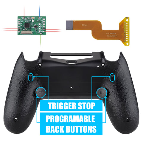 Textured Black Dawn 2.0 FlashShot Trigger Stop Remap Kit for PS4 CUH-ZCT2 Controller, Part & Back Shell & 2 Back Buttons & 2 Trigger Lock for PS4 Controller JDM 040/050/055 - P4QS001