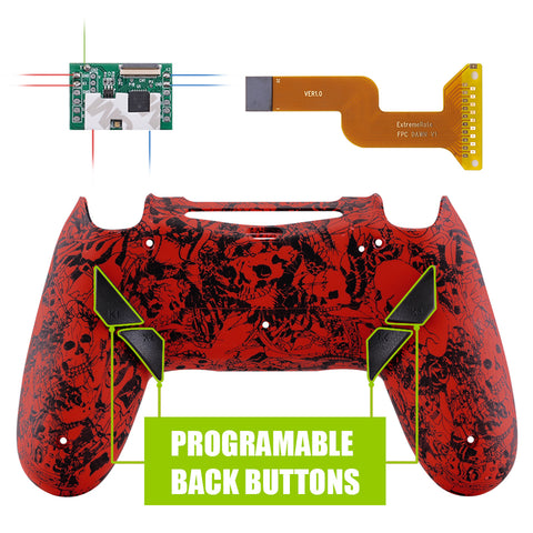 Demons and Monsters Patterned Dawn Programable Remap Kit with Redesigned Back Shell & 4 Back Buttons for PS4 Controller JDM 040/050/055 - P4RM002