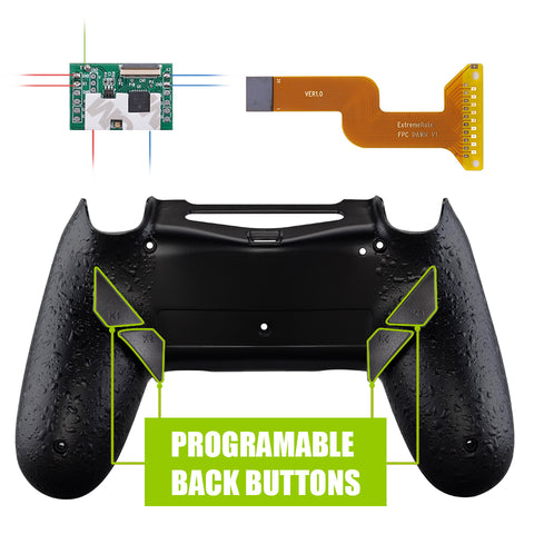 Textured Black DAWN Programable Remap Kit for PS4 Controller with Mod Chip & Redesigned Back Shell & 4 Back Buttons - Compatible with JDM 040 /050/055 - P4RM006