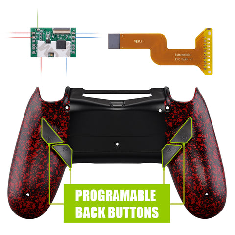 Textured Red Dawn Programable Remap Kit with Redesigned Back Shell & 4 Back Buttons for PS4 Controller JDM 040/050/055 - P4RM009
