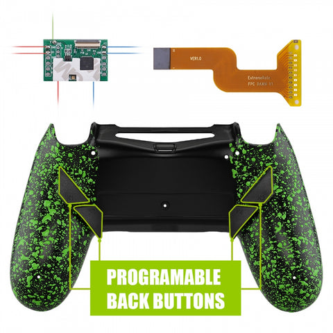 Textured Green Dawn Programable Remap Kit with Redesigned Back Shell & 4 Back Buttons for PS4 Controller JDM 040/050/055 - P4RM010