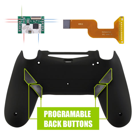 Soft Touch Black Dawn Programable Remap Kit with Redesigned Back Shell & 4 Back Buttons for PS4 Controller JDM 040/050/055 - P4RM011