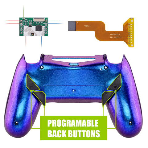 Chameleon Purple Blue Dawn Programable Remap Kit with Redesigned Back Shell & 4 Back Buttons for PS4 Controller JDM 040/050/055 - P4RM012