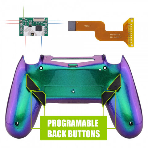 Chameleon Purple Green Blue Programable Remap Kit with Redesigned Back Shell & 4 Back Buttons for PS4 Controller JDM 040/050/055 - P4RM013
