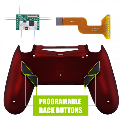 Soft Touch Red Programable Remap Kit with Redesigned Back Shell & 4 Back Buttons for PS4 Controller JDM 040/050/055 - P4RM014