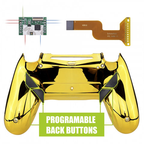 Chrome Gold Dawn Programable Remap Kit for PS4 Controller with Kit Chip & Redesigned Back Shell & 4 Back Buttons - Compatible with JDM-040/050/055 - P4RM016
