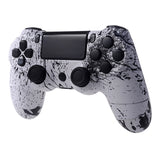 White Ink Full Shell with Buttons Custom Kits for PS4 Controller - P4S017