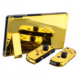 Chrome Gold Handheld Console Back Plate, Joycon Handheld Controller Housing Shell With Full Set Buttons DIY Replacement Part for Nintendo Switch - QD401