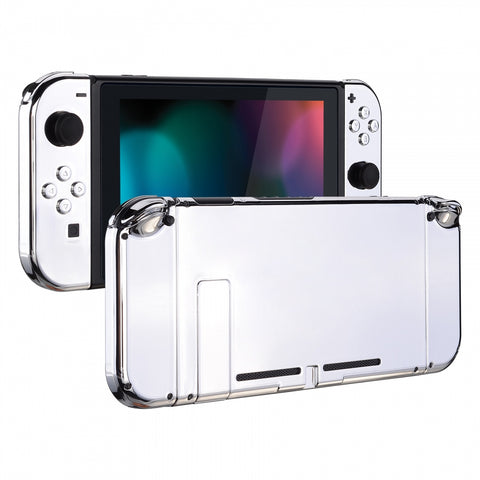 Chrome Silver Handheld Console Back Plate, Joycon Handheld Controller Housing Shell With Full Set Buttons DIY Replacement Part for Nintendo Switch - QD402