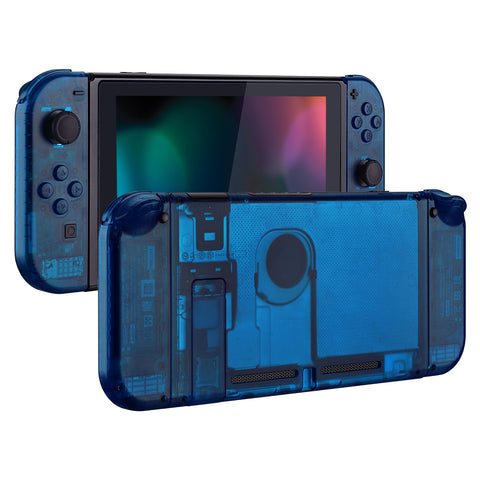 Transparent Clear Blue Back Plate for Nintendo Switch Console, NS Joycon Handheld Controller Housing with Full Set Buttons, DIY Replacement Shell for Nintendo Switch - QM504