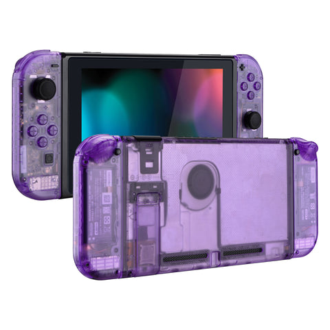Clear Atomic Purple Back Plate for Nintendo Switch Console, NS Joycon Handheld Controller Housing with Full Set Buttons, DIY Replacement Shell for Nintendo Switch - QM505