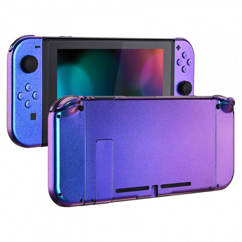 Chamillionaire Glossy Handheld Console Back Plate, Joycon Handheld Controller Housing Shell With Full Set Buttons DIY Replacement Part for Nintendo Switch - QP301