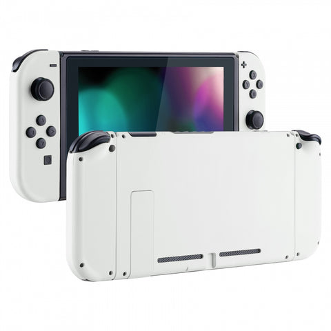 Soft Touch Grip White Handheld Console Back Plate, Joycon Handheld Controller Housing Shell With Full Set Buttons DIY Replacement Part for Nintendo Switch - QP303
