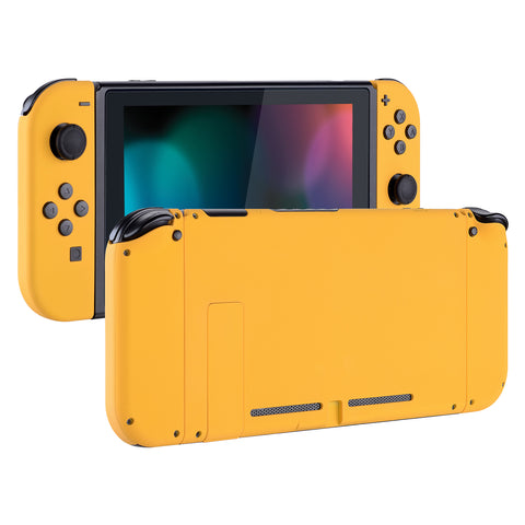 Soft Touch Grip Caution Yellow Handheld Console Back Plate, Joycon Handheld Controller Housing Shell With Full Set Buttons DIY Replacement Part for Nintendo Switch - QP305