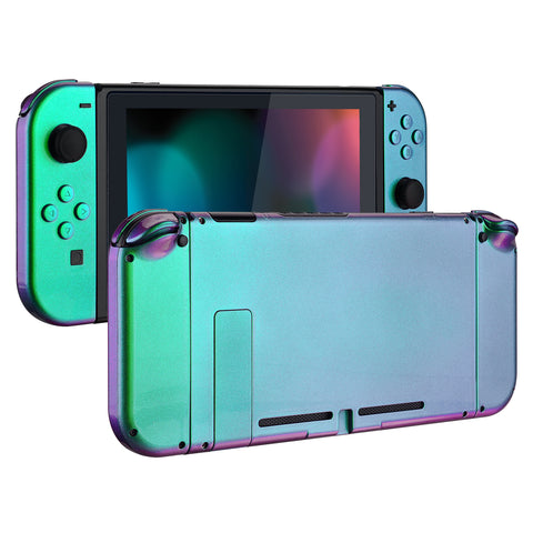 Glossy Back Plate for Nintendo Switch Console, NS Joycon Handheld Controller Housing with Full Set Buttons, DIY Replacement Shell for Nintendo Switch - Chameleon Green Purple - QP311