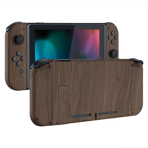 Soft Touch Grip Back Plate for Nintendo Switch Console, NS Joycon Handheld Controller Housing with Full Set Buttons, DIY Replacement Shell for Nintendo Switch - Wood Grain - QS201