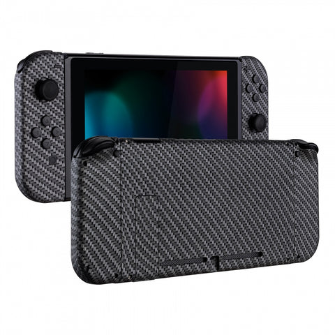 Soft Touch Grip Back Plate for Nintendo Switch Console, NS Joycon Handheld Controller Housing with Full Set Buttons, DIY Replacement Shell for Nintendo Switch - Black Silver Carbon Fiber-QS202